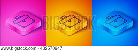 Isometric Line Briefcase Icon Isolated On Pink And Orange, Blue Background. Business Case Sign. Busi