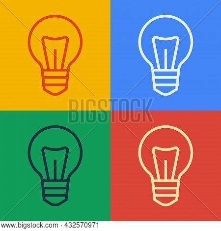 Pop Art Line Light Bulb With Concept Of Idea Icon Isolated On Color Background. Energy And Idea Symb