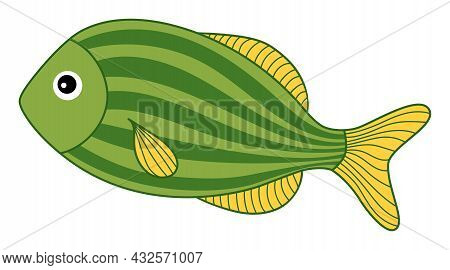 Isolated Cute Tropical Green Fish With Stripes. Vector Cartoon Fish. Fish Vector Illustration