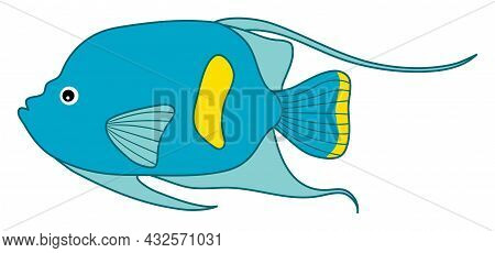 Isolated Cute Tropical Turquoise And Yellow Fish. Vector Cartoon Fish. Fish Vector Illustration