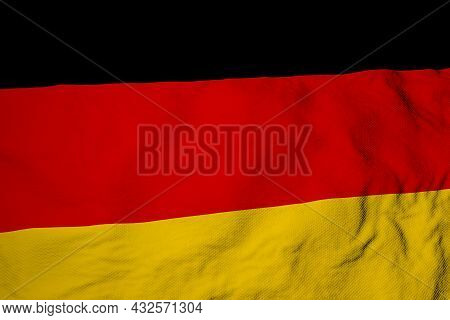 Full Frame Close-up On A Waving German Flag In 3d Rendering.