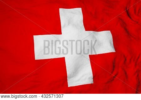 Full Frame Close-up On A Waving Swiss Flag In 3d Rendering.