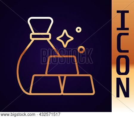 Gold Line Bag Of Gold Bars Icon Isolated On Black Background. Sack With Golden Bars. Vector