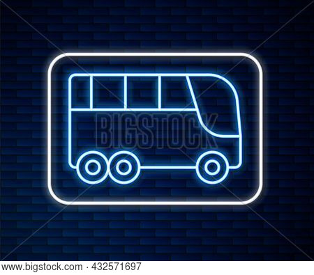 Glowing Neon Line Bus Icon Isolated On Brick Wall Background. Transportation Concept. Bus Tour Trans
