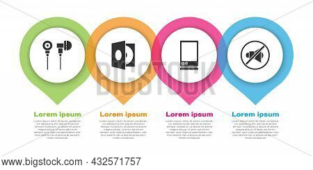 Set Air Headphones, Vinyl Player With A Vinyl Disk, Voice Assistant And Speaker Mute. Business Infog