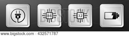 Set Electric Plug, Processor With Microcircuits Cpu, Processor With Microcircuits Cpu And Battery Ch