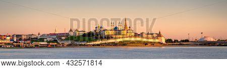 Kazan Kremlin At Sunset, Tatarstan, Russia. It Is Top Landmark Of Kazan. Panorama Of White Fortress