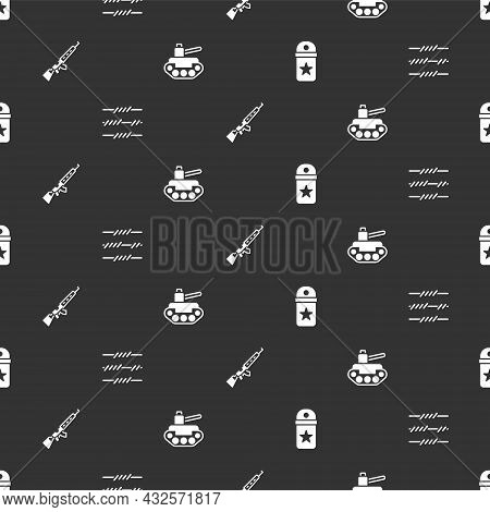 Set Chevron, Barbed Wire, Sniper Rifle With Scope And Military Tank On Seamless Pattern. Vector