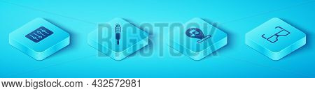 Set Isometric Sound Mixer Controller, Audio Jack, Glasses And Music Note, Tone Icon. Vector