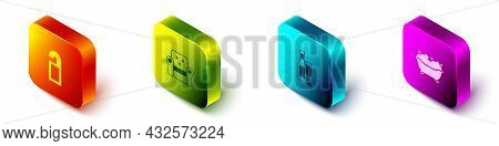 Set Isometric Please Do Not Disturb, Armchair, Champagne Bottle With Glass And Bathtub Icon. Vector
