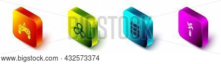 Set Isometric Gamepad, Fidget Spinner, Toy Railway And Pinwheel Toy Icon. Vector