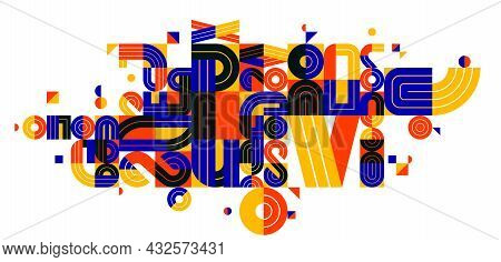 Abstract Modern Vector Trendy Design, Geometric Shapes Stylish Composition, Modular Pattern Artistic