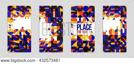 Covers And Brochures For Advertising Geometric Vector Designs Set, Collection Of Trendy Compositions