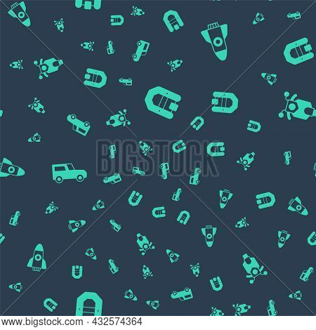 Set Rafting Boat, Rocket Ship, Car And Scooter On Seamless Pattern. Vector