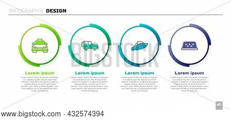 Set Taxi Car, Off Road, Speedboat And Roof. Business Infographic Template. Vector