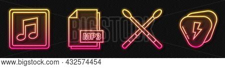 Set Line Drum Sticks, Music Note, Tone, Mp3 File Document And Guitar Pick. Glowing Neon Icon. Vector