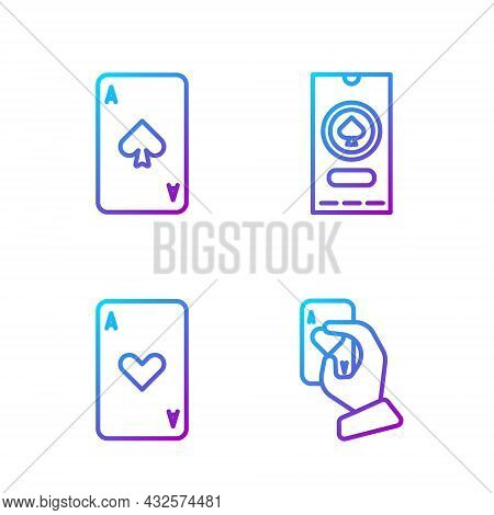Set Line Hand Holding Playing Cards, Playing Card With Heart, Playing Card With Spades And Casino Po