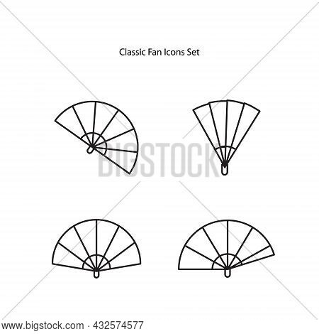 Classic Folding Fan Line And Solid Icon, Theater Concept, Hand Fan Vector Sign On White Background,