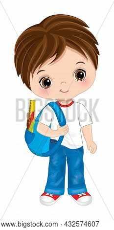 Cute School Boy Is Brunette With Hazel Eyes Wearing Jeans And T-shirt With Rucksack. Vector Back To