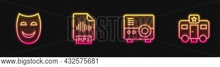 Set Line Media Projector, Comedy Theatrical Mask, Mp3 File Document And Actor Trailer. Glowing Neon
