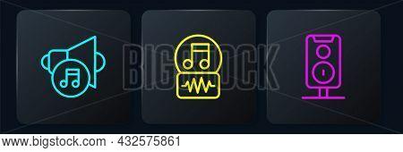 Set Line Speaker Volume, Stereo Speaker And Music Note, Tone. Black Square Button. Vector