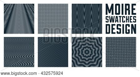 Abstract Vector Backgrounds Set Made With Linear Moire, Op Art Effect Surreal Textures, Sound And Mu