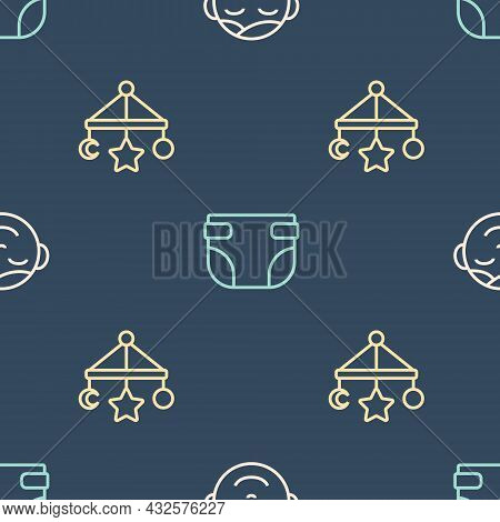 Set Line Little Boy Head, Baby Crib Hanging Toys And Diaper On Seamless Pattern. Vector