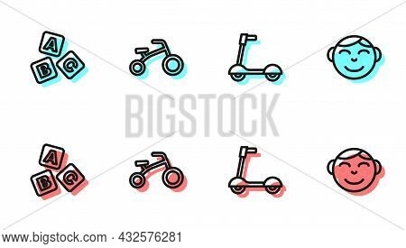 Set Line Roller Scooter, Abc Blocks, Bicycle For Kids And Little Boy Head Icon. Vector