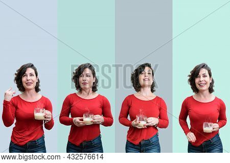 Photo Mosaic Of A Brazilian Woman, Holding A Cup Of Cappuccino, On A Background With Various Shades