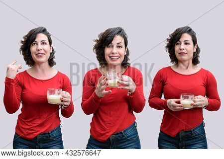 Photo Mosaic Of A Brazilian Woman, Holding A Cup Of Cappuccino, On A Gray Background.