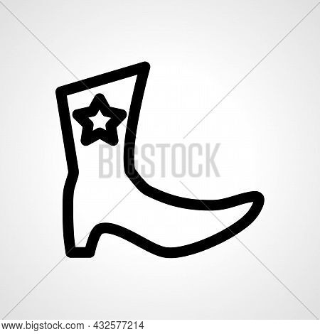 Cowboy Boots Vector Line Icon. Boots Linear Outline Icon.