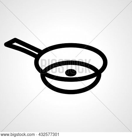 Frying Pan Vector Line Icon. Frying Pan Linear Outline Icon.