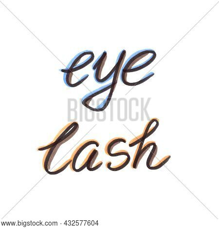 Felt Pen Eyelash Extension Tool Element In The Style Of Line Art Beauty Theme On A White Background.