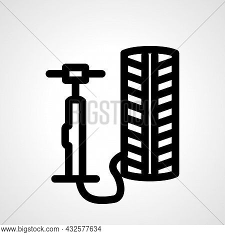 Inflate Tire Vector Line Icon. Inflate Tire Linear Outline Icon.