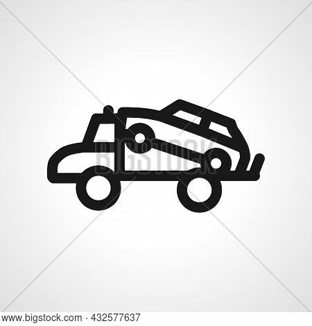 Tow Truck Vector Line Icon. Tow Truck Linear Outline Icon.