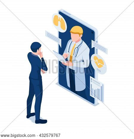 Flat 3d Isometric Businessman Have Online Consultation With Doctor. Telemedicine And Online Medical
