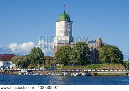 Vyborg, Russia - August 04, 2021: Ancient Vyborg Castle On A Sunny August Day. Leningrad Region