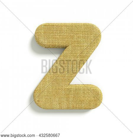 hessian letter Z - Capital 3d jute font isolated on white background. This alphabet is perfect for creative illustrations related but not limited to fabric, design, decoration...