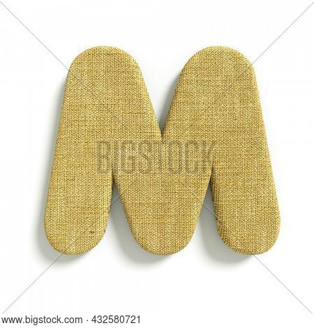 hessian letter M - Upper-case 3d jute font isolated on white background. This alphabet is perfect for creative illustrations related but not limited to fabric, design, decoration...