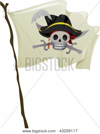 Illustration of a Pirate Flag Fluttering in the Wind