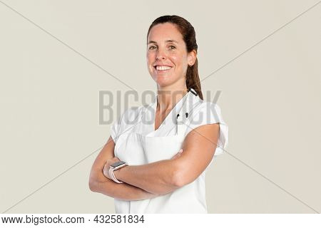 Confident woman with crossed arms gesture