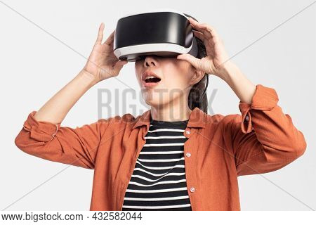 Woman experiencing VR entertainment technology