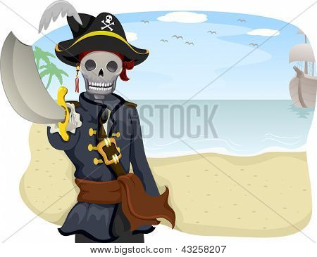 Illustration of a Uniformed Pirate Pointing with His Sword Raised