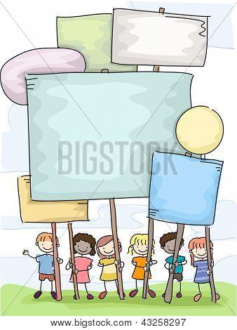 Illustration of Stickman Kids holding Plackards