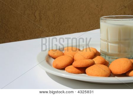 Vanilla Cookies And A Glass Of Milk