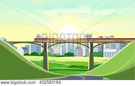 High-speed Train On The Bridge. Suburban Transport. Sunrise. Railway With A Locomotive. Modern Outdo