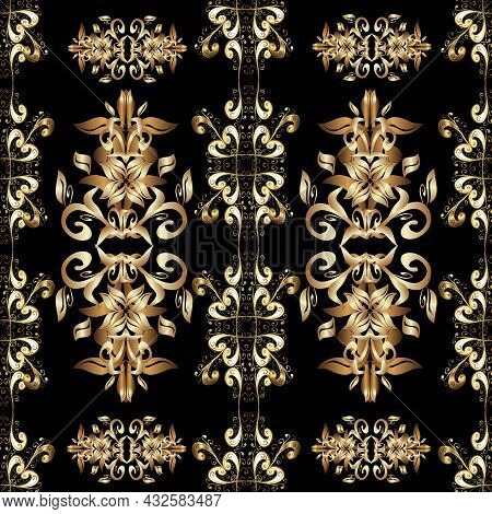 Traditional Orient Ornament. Seamless Pattern On Brown, Black And Beige Colors With Golden Elements.