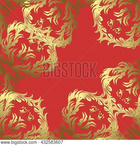 Seamless Floral Pattern. Graphic Modern Seamless Pattern On Orange, Yellow And Neutral Colors. Seaml