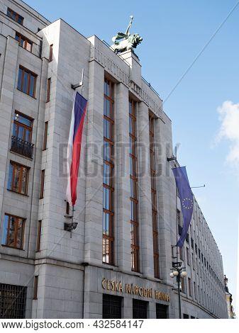 Prague, Czech Republic - July 3 2021: Czech National Bank Or Ceska Narodni Banka Exterior.