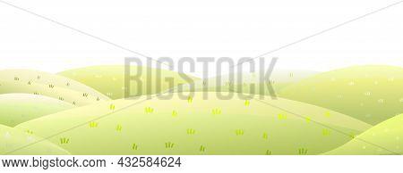 Clean Rural Pasture Hills. Farm Cute Landscape. Funny Cartoon Design Illustration. Flat Style. Isola